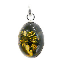 Buy Goldmajor Oval Green Amber Silver Pendant Necklace Online at johnlewis.com