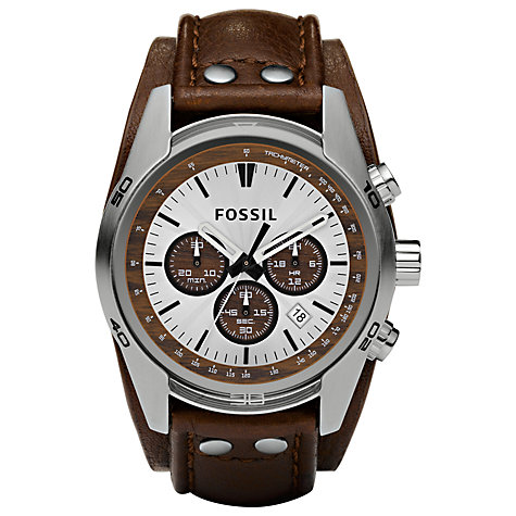 Buy Fossil CH2565 Men's Sports Chronograph Brown Leather Strap Watch Online at johnlewis.com