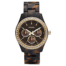 Buy Fossil ES2795 Women's Stella Chronograph Tortoise Shell Plastic Strap Watch Online at johnlewis.com