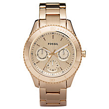 Buy Fossil ES2859 Ladies Stella Chronograph Rose Gold Bracelet Watch Online at johnlewis.com