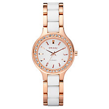Buy DKNY NY8141 Women's Rose Gold Trim Diamond Ceramic Strap Watch Online at johnlewis.com
