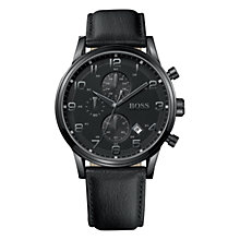 Buy Hugo Boss 1512567 Men's Classic Aviator's Chronograph Leather Strap Watch, Black Online at johnlewis.com