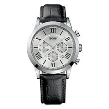Buy Hugo Boss 1512573 Men's Leather Strap Watch, Black / Silver Online at johnlewis.com
