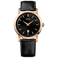 Buy Hugo Boss 1512635 Men's Gold Case Black Leather Strap Watch Online at johnlewis.com