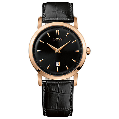 Buy BOSS 1512635 Men's Gold Case Black Leather Strap Watch Online at johnlewis.com