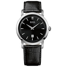 Buy Hugo Boss 1512637 Men's Mock Croc Leather Strap Watch, Black Online at johnlewis.com