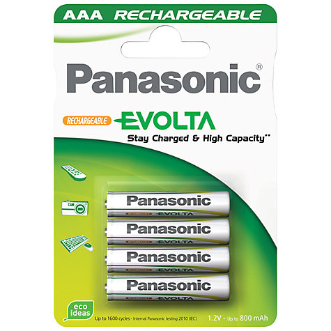 Buy Panasonic Evolta AAA Rechargeable Batteries, Pack of 4 Online at johnlewis.com