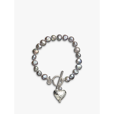 Claudia Bradby Battered Heart Pearl Bracelet, Purple