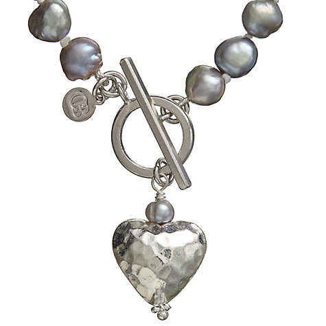 Buy Claudia Bradby Battered Heart Pearl Bracelet, Purple Online at johnlewis.com