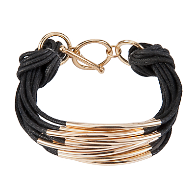 John Lewis Multi Strand Tube Layered Bracelet, Black/Gold