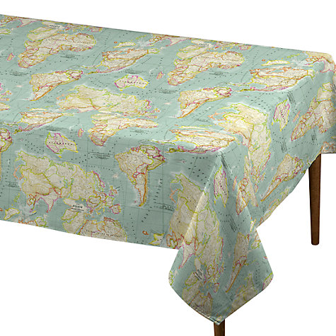 Buy John Lewis World Map PVC Cut Length Tablecloth, Blue Online at johnlewis.com