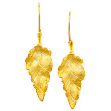 Buy London Road 9ct Yellow Gold Leaf Earrings Online at johnlewis.com