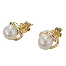 Buy EWA 9ct Yellow Gold Cultured Pearl Stud Earrings Online at johnlewis.com