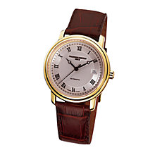 Buy Frédérique Constant FC-303MC3P5 Men's Classic Round Gold Plated Leather Strap Watch Online at johnlewis.com