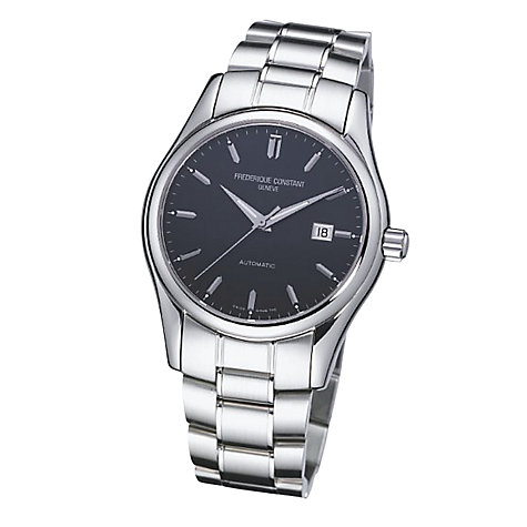 Buy Frédérique Constant FC-303B6B6B Men's Index Round Black Dial Steel Bracelet Watch Online at johnlewis.com