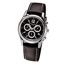 Buy Frédérique Constant FC-292BS4B26 Junior Black Round Dial Chronograph Leather Strap Watch, Black Online at johnlewis.com