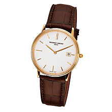 Buy Frédérique Constant FC-220NW4S5 Men's Slim Line Gold Dial Brown Leather Strap Watch Online at johnlewis.com