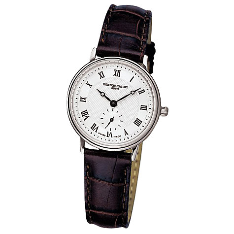 Buy Frédérique Constant FC-235M1S6 Women's Slim Line Steel White Dial Leather Strap Watch Online at johnlewis.com