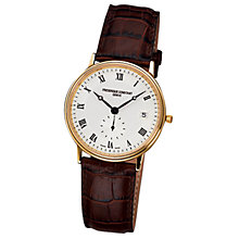 Buy Frédérique Constant FC-245M4S5 Men's Slim Line White Round Dial Leather Strap Watch, Brown Online at johnlewis.com