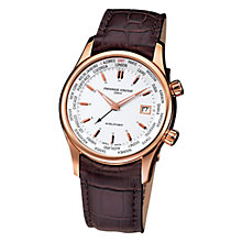 Buy Frédérique Constant FC-255V6B4 Men's World Timer White Round Dial Leather Strap Watch Online at johnlewis.com