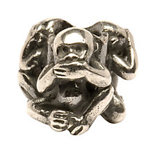 Buy Trollbeads 'Three Monkeys' Silver Bead Online at johnlewis.com