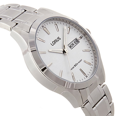 Buy Lorus RXN39CX9 Men's Day Date Bracelet Strap Watch, Silver/White Online at johnlewis.com