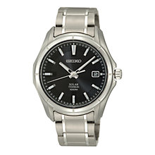 Buy Seiko SNE141P1 Men's Black Round Dial Solar Powered Titanium Bracelet Watch Online at johnlewis.com