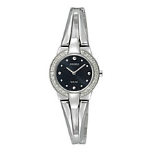 Buy Seiko SUP051P1 Women's Black Dial Solar Crystal Bangle Watch, Silver Online at johnlewis.com