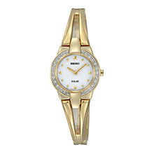Buy Seiko SUP088P1 Women's White Dial Solar Crystal Bangle Watch, Gold Online at johnlewis.com