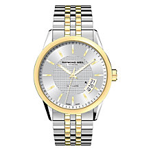 Buy Raymond Weil 2770-STP-65021 Freelancer Men's Stainless Steel Gold Trim Bracelet Watch, Silver Online at johnlewis.com