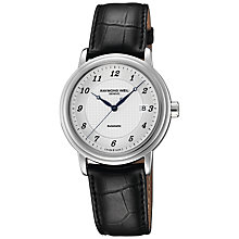 Buy Raymond Weil RWAUBTWT0002 Maestro Men's Steel On Black Leather Strap Watch Online at johnlewis.com