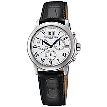 Buy Raymond Weil 2970-SG5-00208 Parsifal Men's Chronograph Leather Strap Watch Online at johnlewis.com