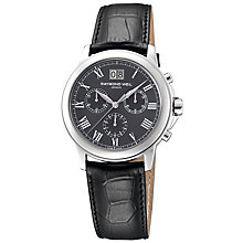 Buy Raymond Weil 4476 -STC-00600 Tradition Men's Grey Dial Chronograph Leather Strap Watch Online at johnlewis.com