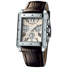 Buy Raymond Weil 4881-STC-00809 Tango Men's Chronograph Rectangular Face Leather Strap Watch Online at johnlewis.com