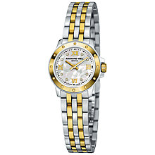 Buy Raymond Weil 5799 -STP-00995 Tango Women's 18ct Gold Plated Two-Tone Bracelet Watch, Gold/Silver Online at johnlewis.com
