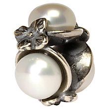 Buy Trollbeads Triple Pearl Silver Bead, White Online at johnlewis.com
