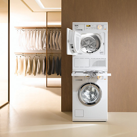 Compact Washer Dryer Combo Stackable Buy Miele WTV406 Stacking Kit, Lotus White | John Lewis