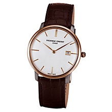 Buy Frédérique Constant FC-306V4STZ9 Men's Slim Line Round White Dial Leather Strap Watch Online at johnlewis.com