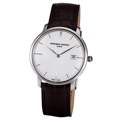 Buy Frédérique Constant  FC-306S4S6  Men's Slim Line Round White Dial Leather Strap Watch, Black Online at johnlewis.com