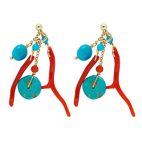 Buy Cobra & Bellamy Turquoise and Coral Earrings Online at johnlewis.com