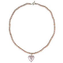 Buy Martick Pearl Peach Murano Heart Necklace, Pink Online at johnlewis.com