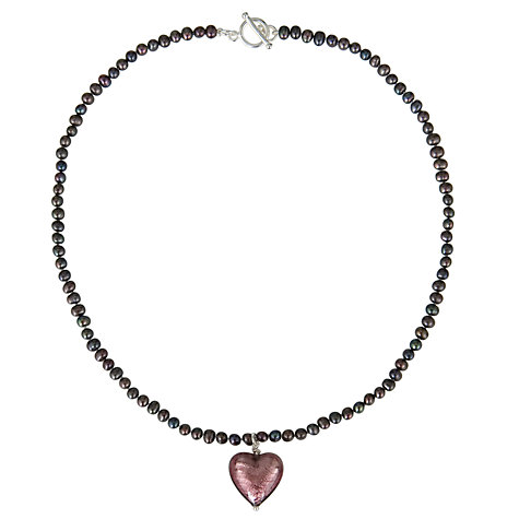 Buy Martick Pearl - Peacock Pearl with Plum Murano Heart Necklace, Plum Online at johnlewis.com