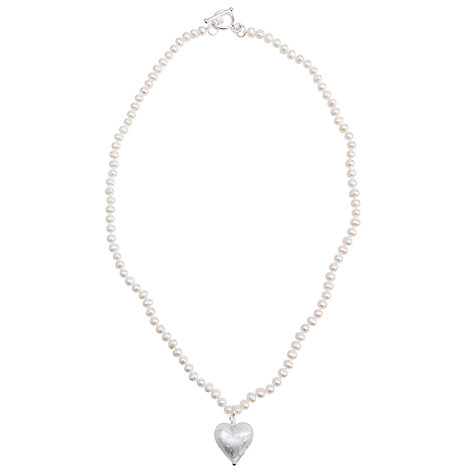 Buy Martick White Pearl with Silver Murano Heart Necklace Online at johnlewis.com