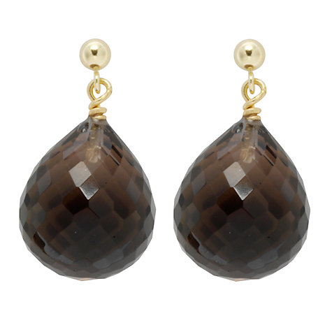 Buy Cobra & Bellamy 18ct Gold Smoky Quartz Drop Earrings Online at johnlewis.com