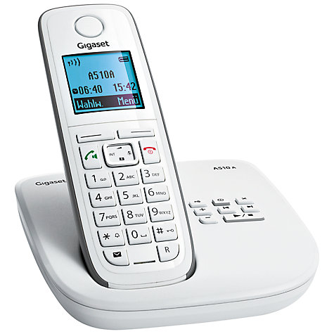 Buy Gigaset A510A Digital Telephone and Answering Machine, Single DECT, White & Grey Online at johnlewis.com