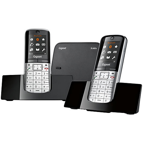 Buy Gigaset SL400A Digital Telephone and Answering Machine, Twin DECT, Black/Silver Online at johnlewis.com