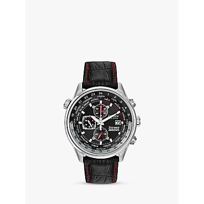 Citizen Eco-Drive CA0080-03E Men's Red Arrows Chronograph Leather Strap Watch, Black