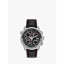 Buy Citizen Eco-Drive CA0080-03E Men's Red Arrows Chronograph Leather Strap Watch, Black Online at johnlewis.com