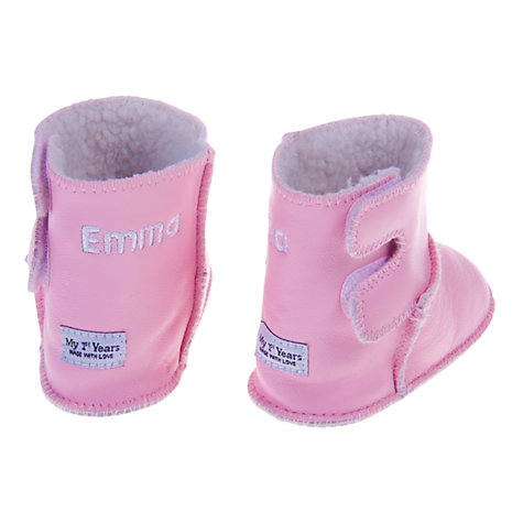 Buy My 1st Years Personalised Booties, Pink Online at johnlewis.com
