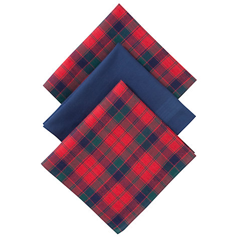 Buy John Lewis Tartan Handkerchiefs, Pack of 3, Red Online at johnlewis.com